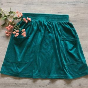 American Apparel Teal Cotton Two Pocket Skirt